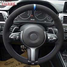 лучшая цена Black Suede Car Steering Wheel Cover for BMW F87 M2 F80 M3 F82 M4 M5 F12 F13 M6 F85 X5 M F86 X6 M F33 F30 M Sport