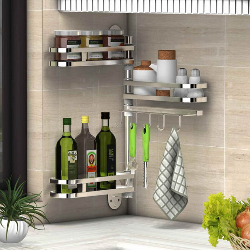 SUS 304 Rotate Stainless Steel Kitchen Rack, Kitchen Shelf, Seasoning Rack Wall Holder Organizer DIY 1-5 Layers
