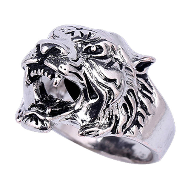 jewelry cocktail collare stainless men tiger punk retro for rings plated bands rock gold ring steel yellow mens item color