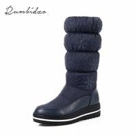 RumBIdzo 2018 Hot Women Boots Warm Winter Snow Boots Short Plush Flat Heel Print PU And