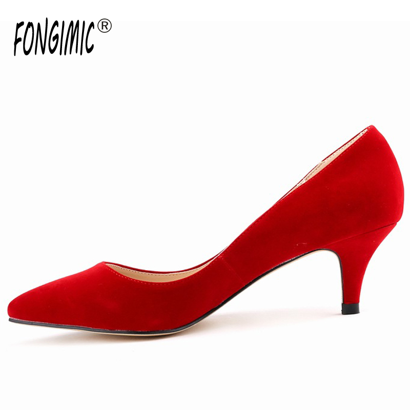 Fashion new spring summer med high heels good quality pointed toe women lady flock leather solid simple sexy casual pumps shoes new hot spring summer high quality fashion trend simple classic solid pleated flats casual pointed toe women office boat shoes