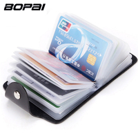 BOPAI Brand PU Syntheti Leather Credit Card Holder For Men Women ID Card Case Bank Credit