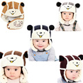 2016 Winter Warm Beanie 3in1 Cap Kids Baby Infant Cartoon Bear Cotton Plush Earflap + Hat + Mouth Warmer with Buckle BM
