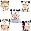 2016 invierno cálido beanie 3in1 cap kids infantil del bebé del oso de dibujos animados algodón de Felpa Orejera + Hat + Boca Caliente con Hebilla BM