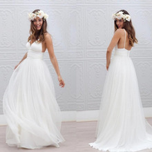 98388b0e382d Bohemian Beach Wedding Dresses Modest Sexy Spaghetti Straps Backless Pure  White Ruched Tulle 2019 Simple Style