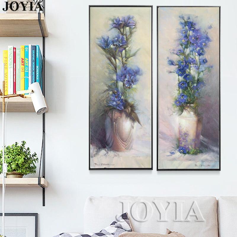 90cm große abstrakte Leinwandbilder Vintage Blumenvase Gehobene - Wohnkultur