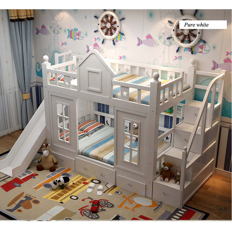 16  0128TB006 Fashionable kids bed room furnishings princess fortress with slide storages cupboard stairs double kids mattress HTB17QwhoRfH8KJjy1Xbq6zLdXXaq