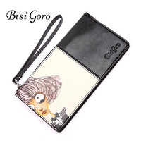 BISI GORO 2019 Women Long Purse Wallet Fashion Elegant Wallet Black Organizer Purses Ladies Cartoon Printing Leather Purse Women