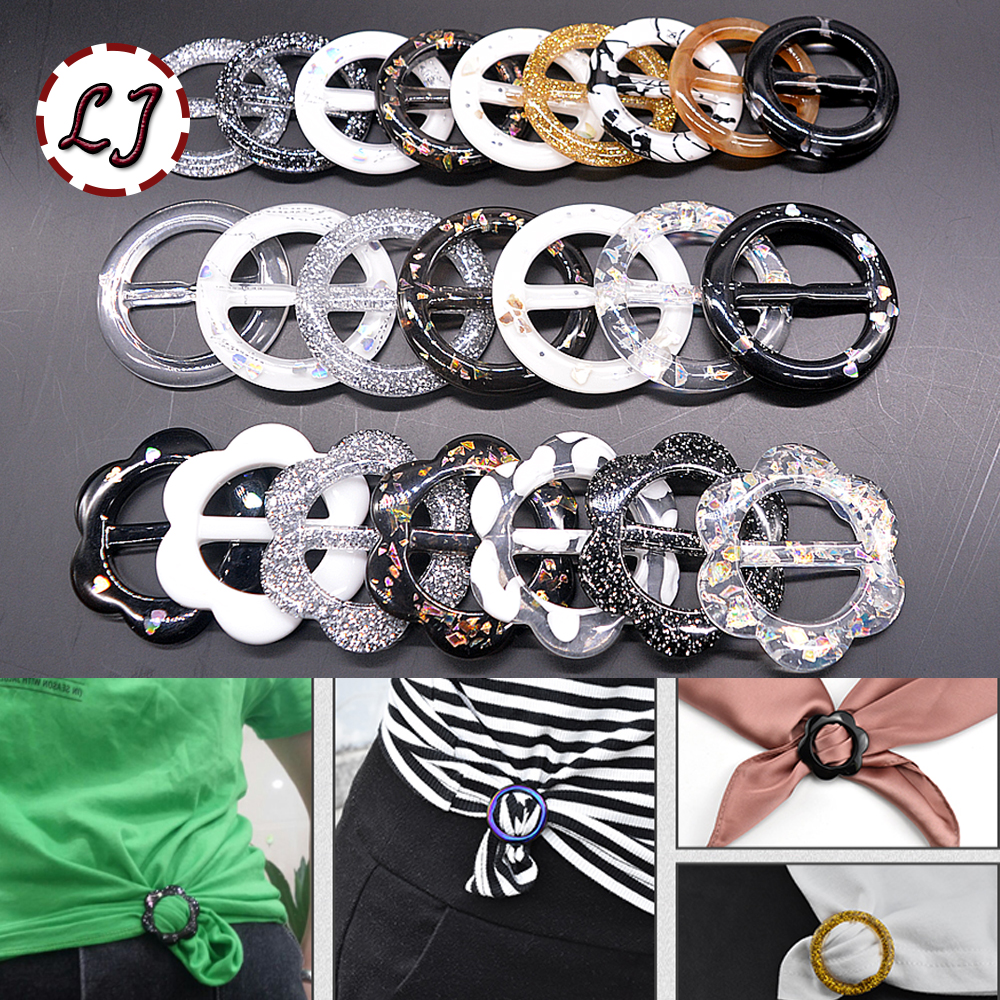 New 10pcs/lot round flower resin belt buckle for women T-shirt dress dscarf decorative buckle crafts garment accessories DIY bracelet