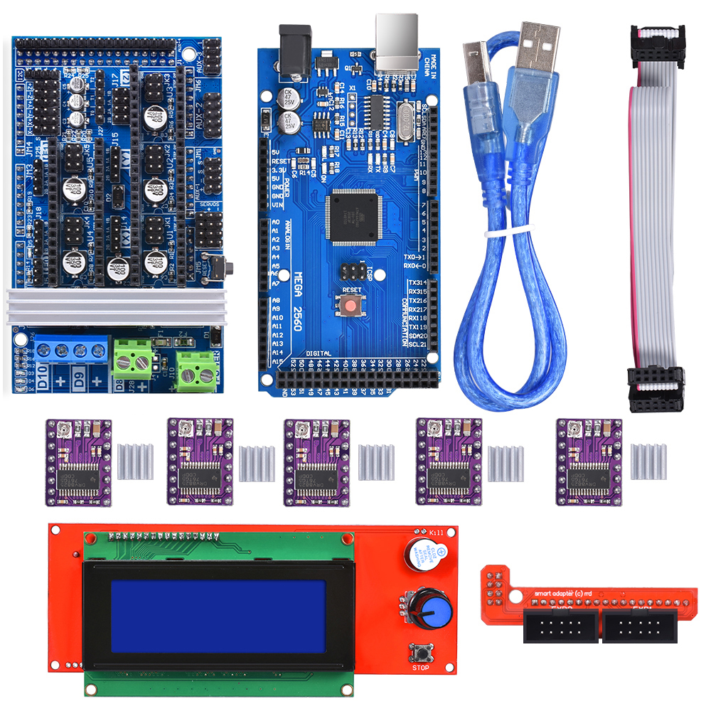 Ramps 1.6 Motherboard Kits Upgrade Ramps 1.4 Ramps 1.5+A4988/DRV8825 Stepper Motor Driver+Mega 2560 R3 Reprap Mendel+2004 LCD
