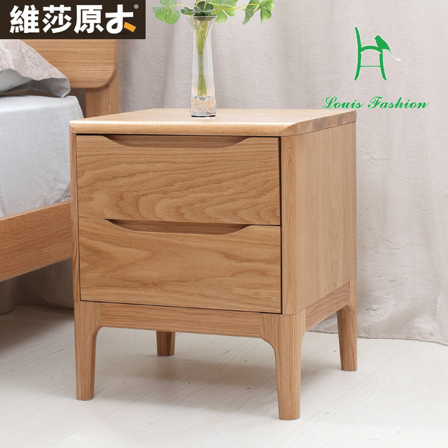 Anese Visa Pure White Oak Wood Bedside Bedroom Furniture Lockers Two Drawer Cabinet New Environmental Protection