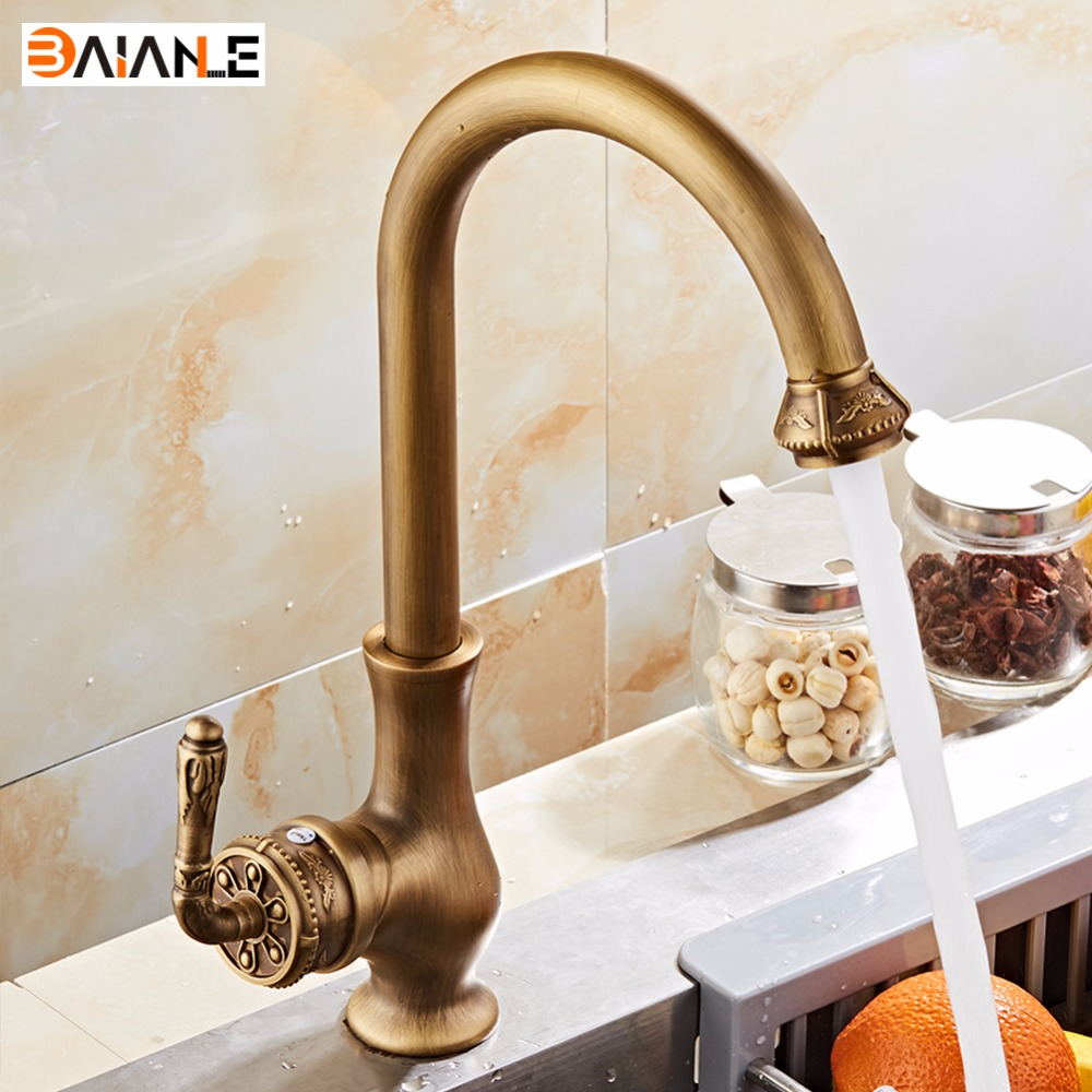 Free Shipping Kitchen Faucet Antique Brass Swivel Basin Faucet Single Handle Vessel Sink Mixer Tap antique brass swivel spout dual cross handles kitchen