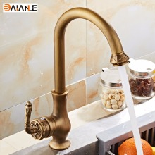 Free Shipping Kitchen Faucet Antique Brass Swivel Basin Faucet Single Handle Vessel Sink Mixer Tap  free shipping luxury swan design antique brass finish faucet bathroom basin mixer single handle countertop basin tap gi61