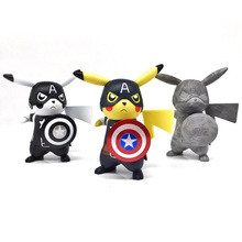 Pikachu Cosplay Captain America Aciton Figures Anime Figures Vinyl Doll Pocket Monster Toys Kids Toys Boys Birthday Gifts