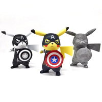 Pokemon Toys Pikachu Cosplay Captain America Aciton Figures Anime Figures Vinyl Doll Kids Toys Boys Christmas
