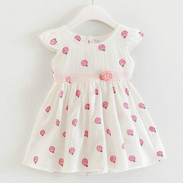 a8eff7997 Kids Girls Cotton Dress 2018 Summer Flower Infant Clothes Print ...