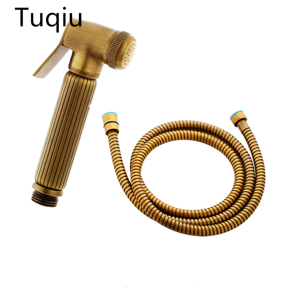 Brass antique Brass Held Shower Head set with1.5M shower plumbing hose and hand shower luxury bidet faucet shower head цены онлайн