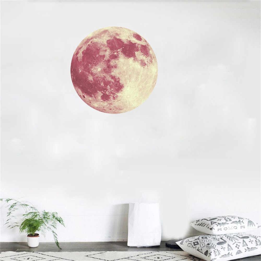 2019 30 см 3D Большая Луна флуоресцентная Наклейка на стену Съемная светится в темноте наклейка украшение дома для дома