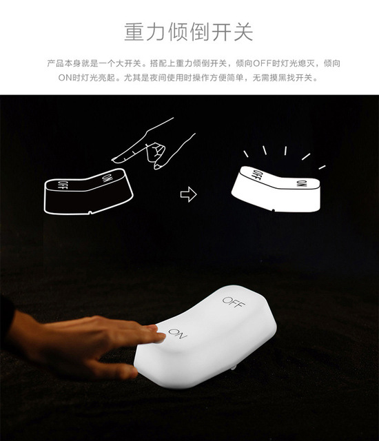 on-off Switch Lamp LED Night Light Gravity Sensor