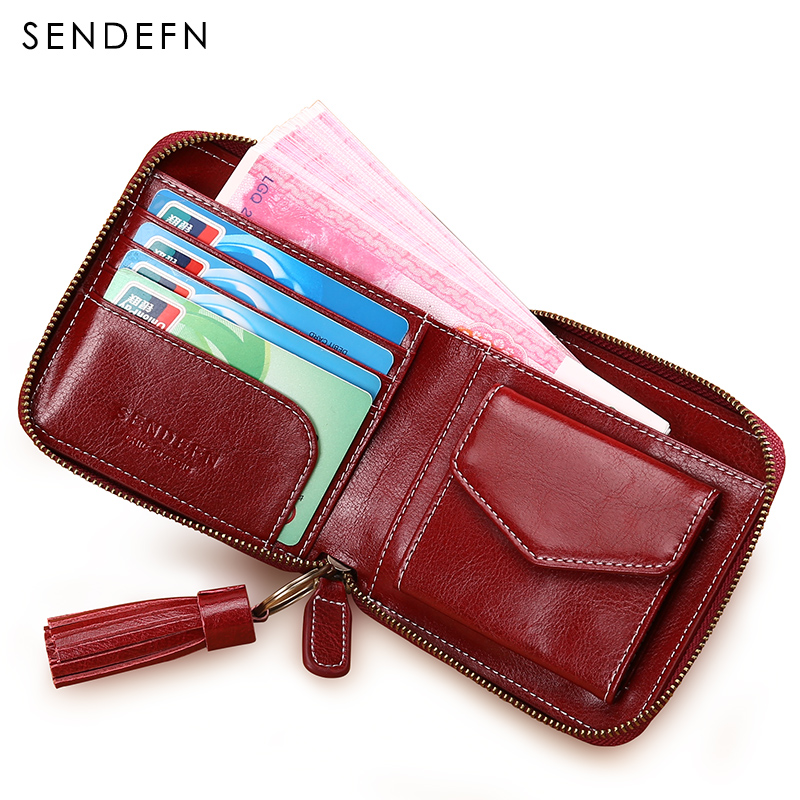 Sendefn 2018 New Small Wallet Split Leather Women Wallet Short Lady Purse Card Holder Coin Pocket Purse Female With Tassel sendefn fashion vintage women wallets short design split leather trifold purse wallet with zipper coin pocket