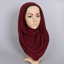Free Shipping Horizontal Ripples 100% Viscose Plain Women Scarves Shawls Muslim Hijabs Long Scarf Luxury Turkey Style Echarpe