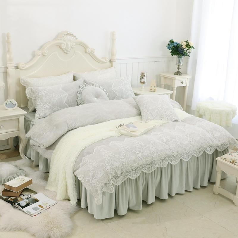korea style thick fleece winter warm bedding set bedclothes twin king queen size kids girls. Black Bedroom Furniture Sets. Home Design Ideas