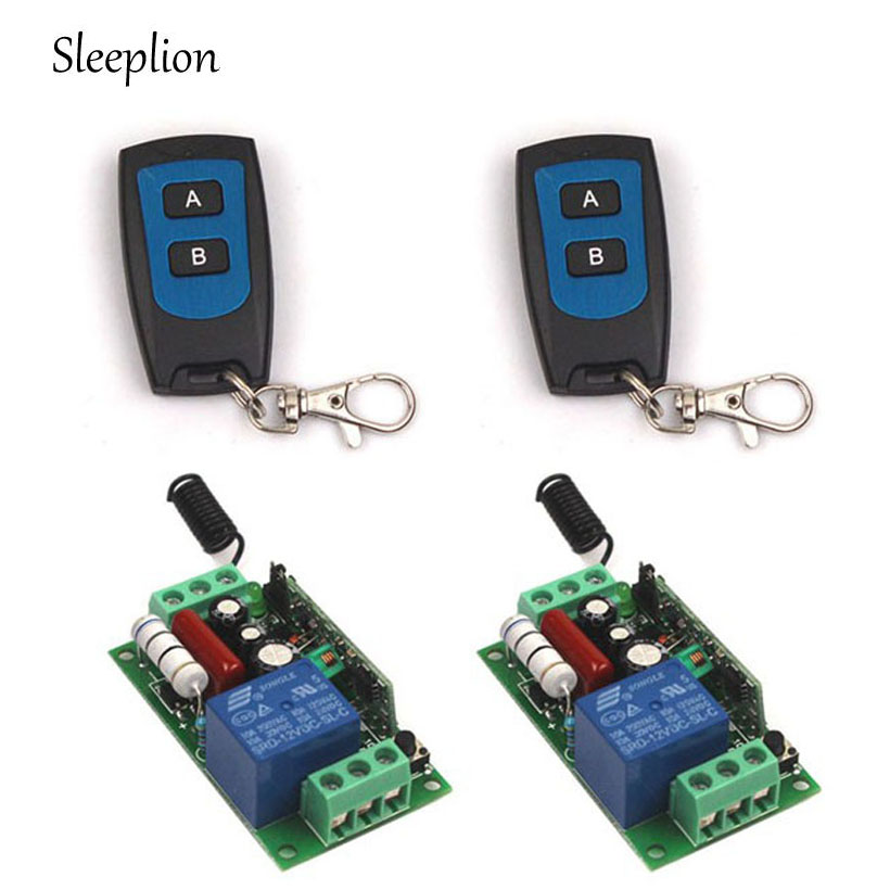 Sleeplion US Home AC 110V 1CH Channel Relay ON/OFF Wireless RF Remote Control Switch 2 Transmitter+2 Receiver smart home 1 channel ac 220v wireless remote control switch for lamp