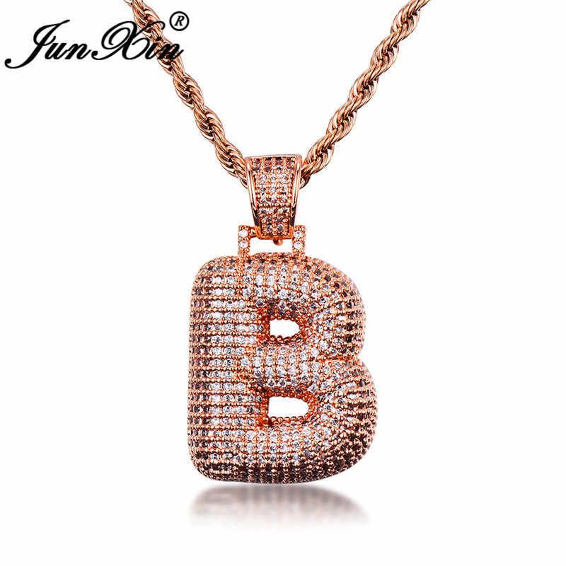 JUNXIN femmes lettres B/H pendentifs pour femmes 925 en argent Sterling/or Rose rempli Pave complet cristal Zircon collier de mariage cadeau