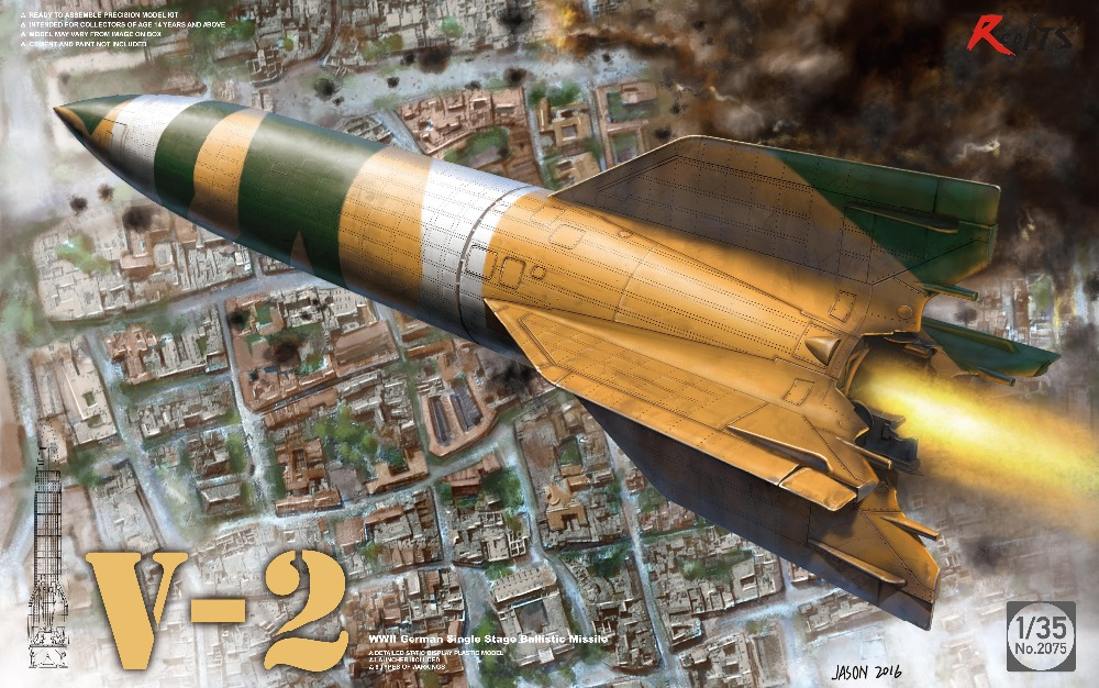 RealTS Takom 1:35 V-2 WW2 German Single Stage Ballistic Missile Plastic Model Kit #2075 parade chariot model military gifts 1 30 dongfeng 31 intercontinental ballistic missile launch vehicle alloy model