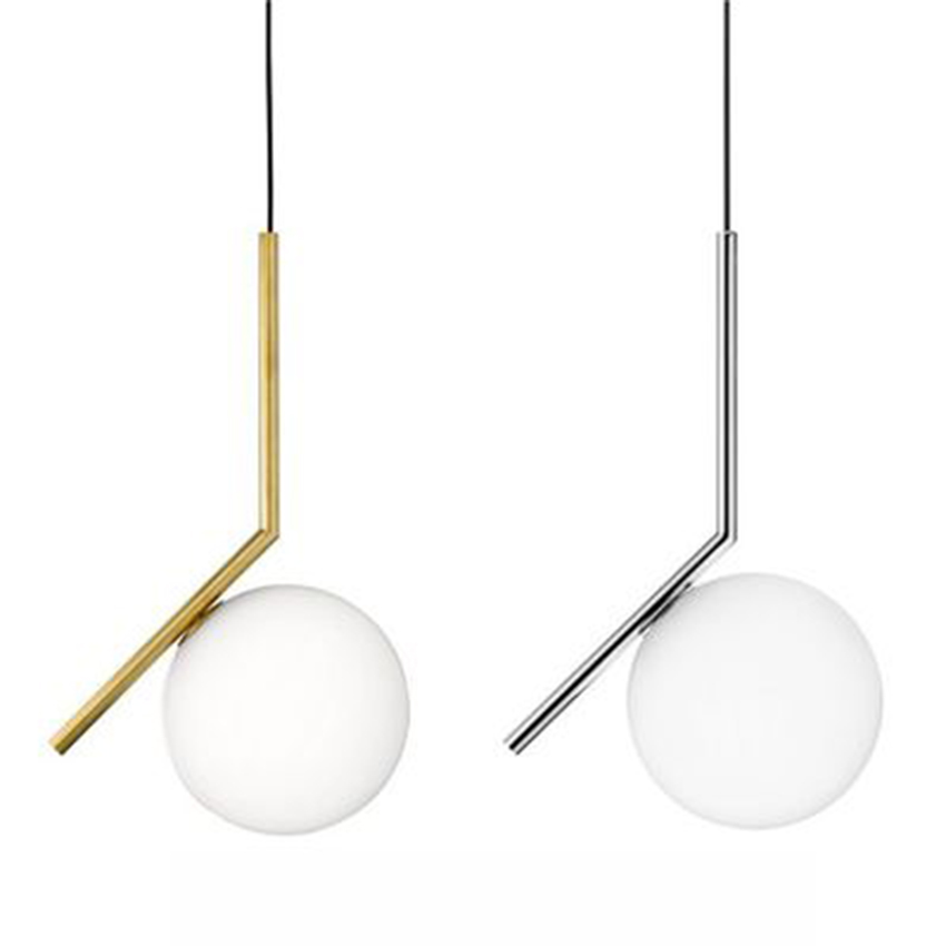 Modern Gloden Glass Ball Pendant Lamp Fixtures Dining Bedroom Lamp Luminaire Frosted Lampshade Socket Hanging Lamp Luxury Lustre