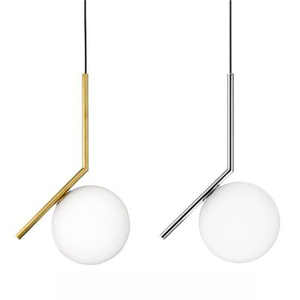 Image 1 - Modern gloden Glass Ball Pendant Lamp Fixtures Dining Bedroom lamp Luminaire Frosted Lampshade Socket Hanging Lamp luxury lustre