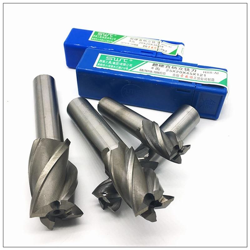 End Mill HSS 4 Flutes 20mm-30mm Diameter Milling Cutter Straight Shank Router Bit Set CNC Tools