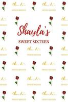 custom red rose flower sweet sixteen birthday photo backdrop High quality Computer print party background
