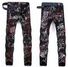 TR Джинсы мужской моды Европейский и Американский стиль мужской ночной клуб байкер печати тонкий брюки бегунов рваные джинсы бренд одежды