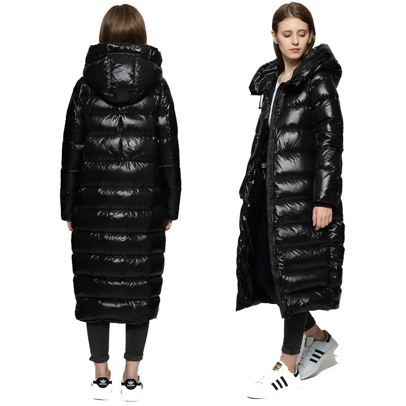 Зимняя куртка Для женщин высокого качества Длинные Мода белая утка вниз куртка пальто женские толстые черные теплая верхняя одежда 2018 Новы