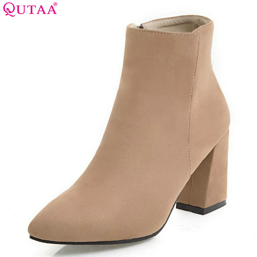 QUTAA 2018 Women Ankle Boots Fashion High Quality Scrub Women Shoes Pointed Toe Square High Heel Zipper Ladies Boots Size 34-43 qutaa 2018 women ankle boots fashion zipper square high heel pointed toe pu leather spring and autumn women boots size 34 43