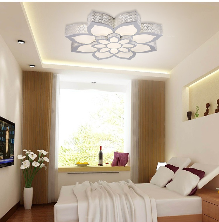 Fancy Iron Romantic Individuality Living Room Light LED Ceiling Lamp Bedroom  Study Lotus Lantern AC110 240V In Ceiling Lights From Lights U0026 Lighting On  ...