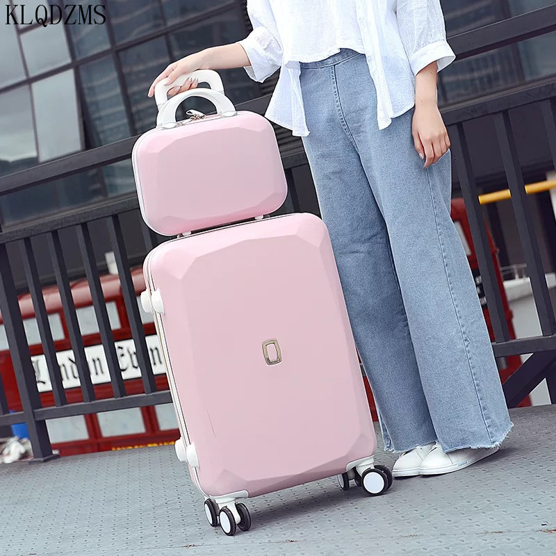 KLQDZMS 20/22/24/26inch Cosmetic bag set on wheels Vintage Travel bags Trolley suitcase girls woman rolling luggage