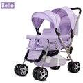Bello Ao Ar Livre Duplo Gêmeos Carrinho De Criança Dobrável Luz Carrinho de Bebê Carrinhos Buggy com capa de chuva