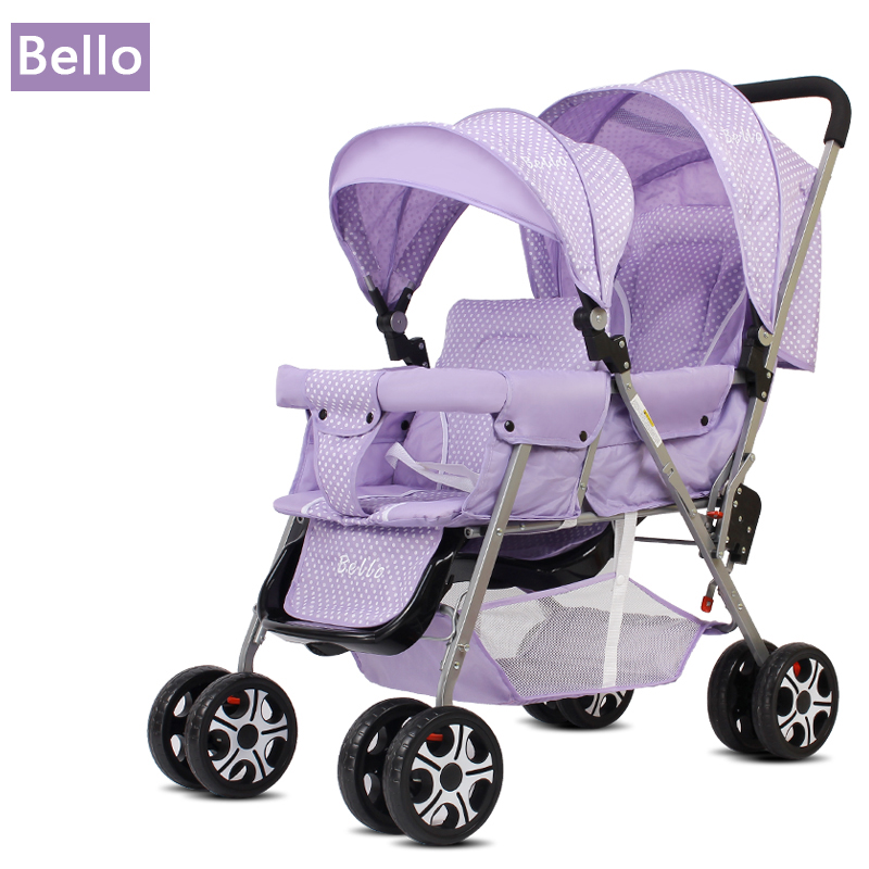 Bello Outdoor Double Twins Stroller Foldable Light Baby Carriage Prams Buggy with rain cover twins stroller double stroller super twins stroller carrier pram buggy leader handcart ems shipping