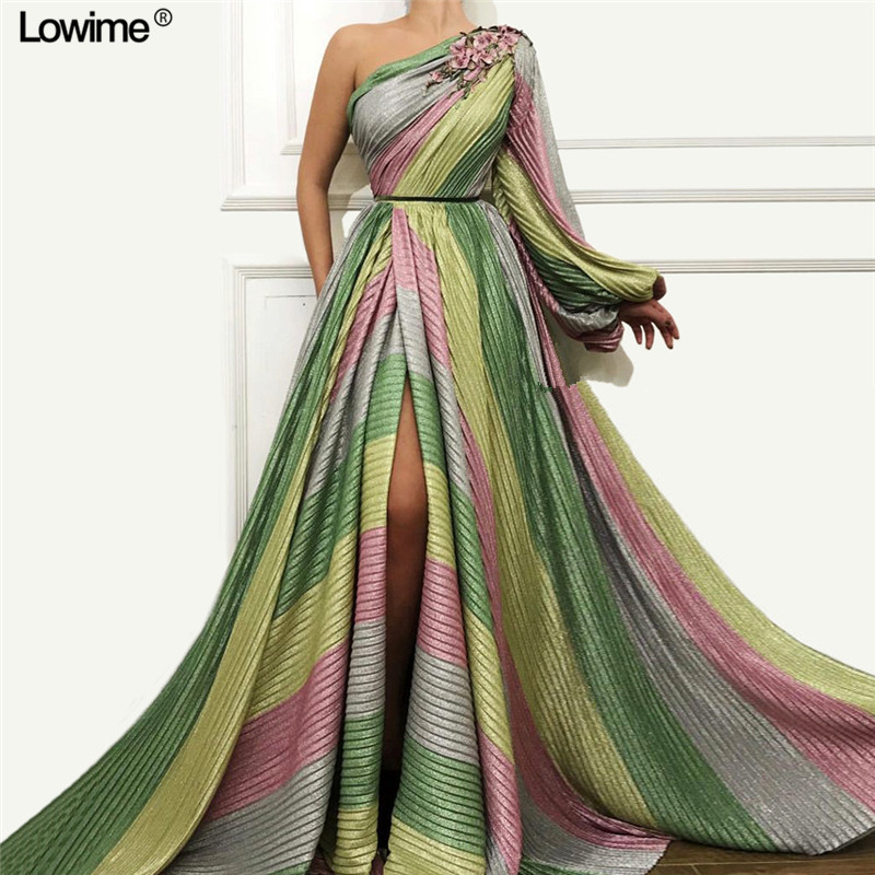 Fashion Plus Size Muslim   Evening     Dresses   A-Line One-Shoulder High Split Long Sexy   Evening   Prom Party Gowns With Flowers