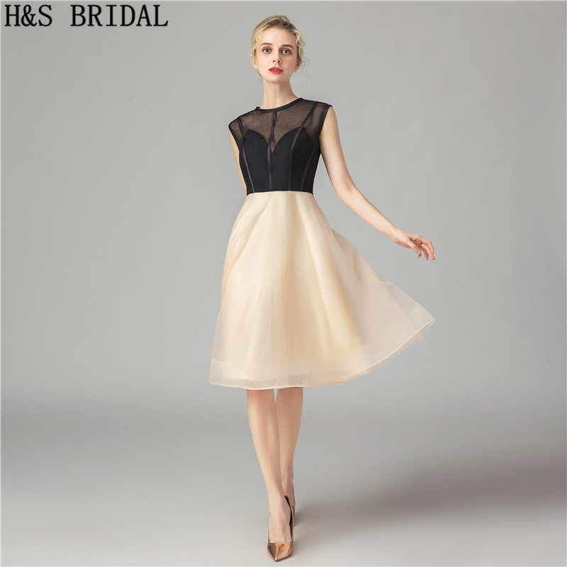 H&S BRIDAL Cocktail Dresses Knee Length A line Black and Champagne Short Prom Dresses For Juniors 2019 Party Gowns Vestidos
