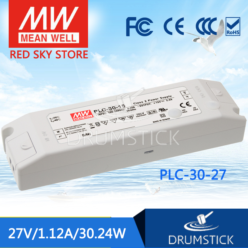 Advantages MEAN WELL PLC-30-27 27V 1.12A meanwell PLC-30 27V 30.24W Single Output LED Power Supply leading products mean well sp 320 27 27v 11 7a meanwell sp 320 27v 315 9w single output with pfc function power supply