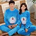 Inverno do outono do Algodão Gato Dos Desenhos Animados Doraemon Pijama Mulheres/homens No mesmo parágrafo suíte casa de Flanela Calças de Manga Longa sleepwear