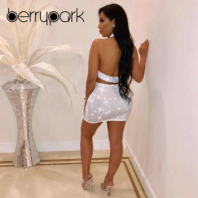 ... BerryPark Sparkly Rhinestone Sexy Club Dress 2019 Women Diamond Crop  Top and Skirt 2 Piece Set ... 29db5eb83
