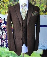 3PCS Mens British Wool Brown Tweed Suit Jacket Vest Pants 38 40 42 44 46+Custom