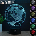 Américas Globo de La Lámpara de Luz Nocturna en 3D RGB Cambiable Mood Lamp LED decorativa lámpara de mesa de luz dc 5 v usb conseguir un free remote control