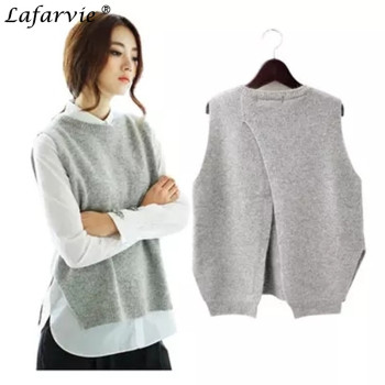 Lafarvie Fashion Casual Sping Autumn Cashmere Blended Knitted Sweater Women Tops Female Shrug O-neck Sleeveless Solid Color Pull