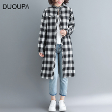DUOUPA 2019 Spring New Womens Long-sleeved Red Black Plaid Shirt Fashion Comfortable Cotton Long Section