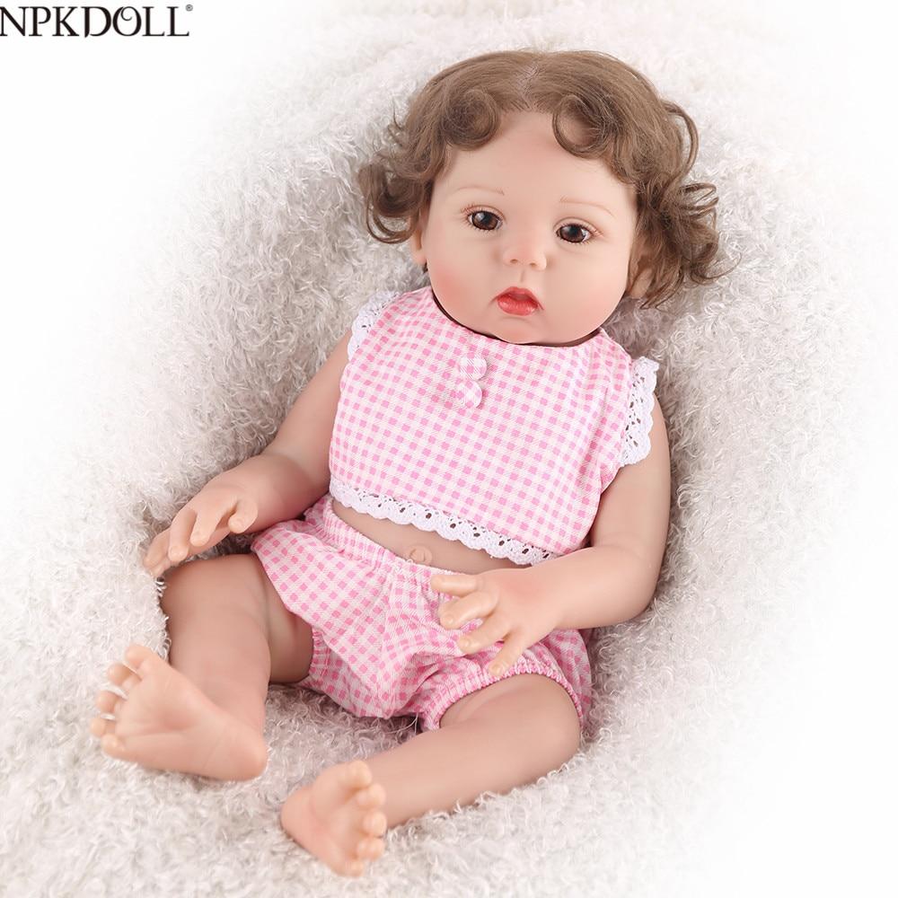 NPKDOLL 17inch Full Silicone Reborn Baby Lifelike Girl Doll Bath Toy Cute Bebe Boneca Curly Hair
